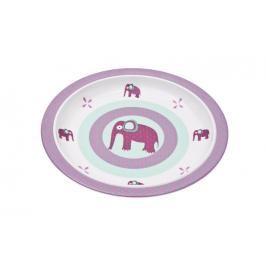 Lässig - Dětský talíř se silokónovým pruhem - Wildlife elephant