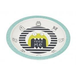 LÄSSIG - dětský talíř, Plate with Silicone Little Monsters bouncing bob