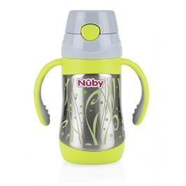 NUBY - Hrneček termo nerezový s měkkým sklápěcím brčkem, držadly, 280ml 12m+