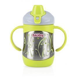NUBY - Hrneček termo nerezový s měkkým náustkem a držadly 220ml, 6m+