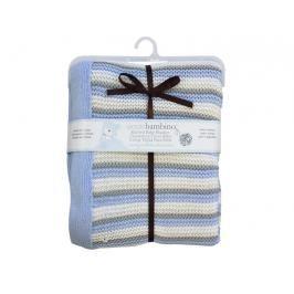 PICCOLO BAMBINO - Pletená deka 76 x 91 cm pruhovaná - modrá