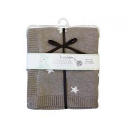 PICCOLO BAMBINO - Pletená deka hvězdičky 76 x76 cm - hnědá