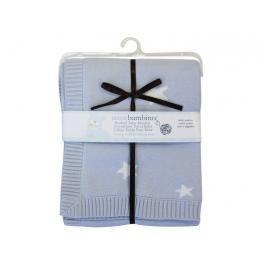 PICCOLO BAMBINO - Pletená deka hvězdičky 76 x76 cm - modrá
