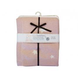 PICCOLO BAMBINO - Pletená deka hvězdičky 76 x76 cm - růžová
