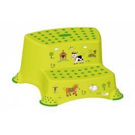PRIMA BABY - Dvojstupienok k umyvadlu a WC Funny Farm, zelená