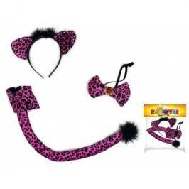 RAPPA - Karnevalová sada doplňků kočka - ocas, čelenka, motýlek