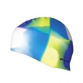SPOKEY - ABSTRACT-Plavecká čepice silikonová bílo-modro-žluto-fialová