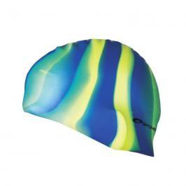 SPOKEY - ABSTRACT-Plavecká čepice silikonová modro-žluto-zelené pruhy