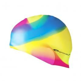 SPOKEY - ABSTRACT-Plavecká čepice silikonová žluto-modro-růžová