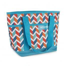 SPOKEY - ACAPULCO Plážová termo taška malá, modrá zigzag, 36 x 15 x 27 cm