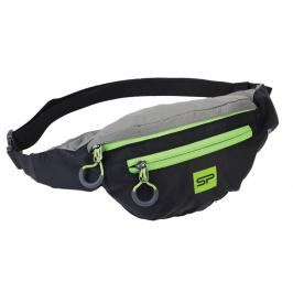 SPOKEY - BOREAS menší sportovní ledvinka černo-šedá, zelený zip, 3l