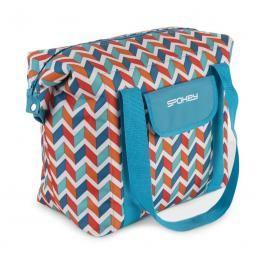 SPOKEY - SAN REMO Plážová termo taška,modrá zigzag, 52 x 20 x 40 cm