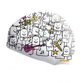 SPOKEY - STYLO  plavecká čepice bílá kreslené postavičky