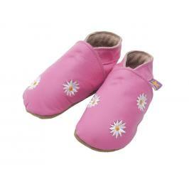 Starchild - Kožené botičky - Daisy květiny pink - velikost M (6-12 měsíců)