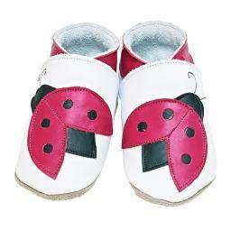 Starchild - Kožené botičky - Ladybug White - velikost L (12-18 měsíců)