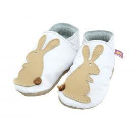 Starchild - Kožené botičky - Rabbit White / Caramel- velikost S (0-6 měsíců)