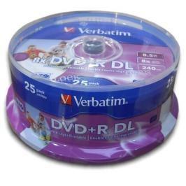 Verbatim DVD+R DualLayer, 8,5GB, 8x, printable, 25cake (43667)