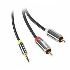 GoGEN Jack 3,5mm / 2x Cinch, 1,5m, pozlacené konektory (GOGCINJACK150FM01)
