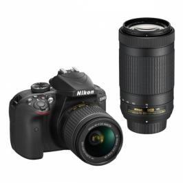 Nikon D3400 + AF-P 18-55 VR + 70-300 VR + 4x čištění čipu zdarma (VBA490K005)