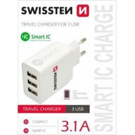 Nabíječka Swissten 3xUSB 3,1A Smart IC, bílá