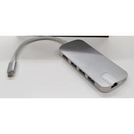 Hub Olpran BL-30H, USB-C / 3x USB, RJ45, HDMI, stříbrná