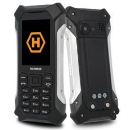 Odolný tlačítkový telefon Hammer Patriot, stříbrná