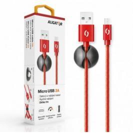 Kabel Aligator Micro USB na USB, 2A, 1m, červená