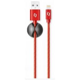 Kabel Aligator Lightning na USB, 2A, 1m, červená