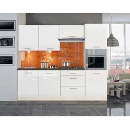 Kuchyně Emilia - 240 cm (bílá vysoký lesk/travertin tmavý)