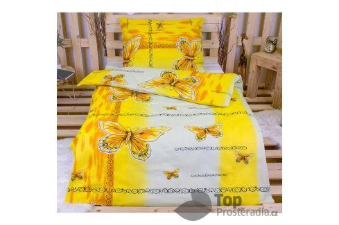 TOP Bavlněné povlečení 140x200 70x90 Yellow butterfly Ložní povlečení