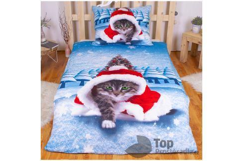 TOP 3D povlečení 140x200 70x90 Vánoční kotě Ložní povlečení
