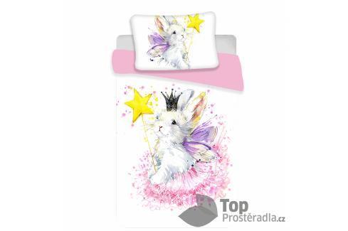 TOP Bavlněné povlečení do postýlky 100x135+40x60 Bunny white Dětské povlečení