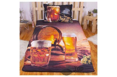 TOP 3D povlečení 140x200 70x90 Golden beer Ložní povlečení