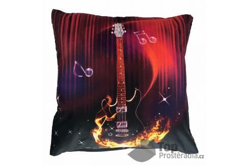 Apex 3D povlak 45x45  Ohnivá kytara Ložní povlečení