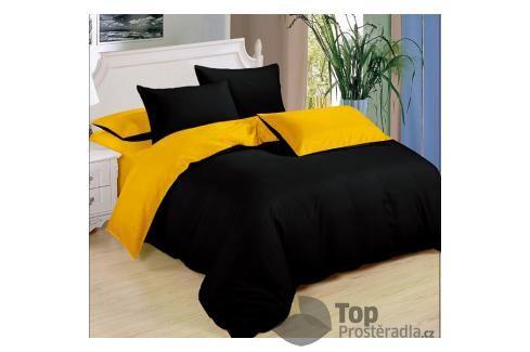 TOP Sedmidílná sada  povlečení 140x200+70x90 - Black & Yellow Ložní povlečení