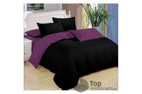 TOP Sedmidílná sada  povlečení 140x200+70x90 - Black & Purple Ložní povlečení
