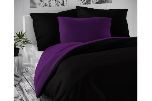 TOP Saténové prodloužené povlečení LUXURY COLLECTION 140x220+70x90cm černé / tmavě fialové Ložní povlečení