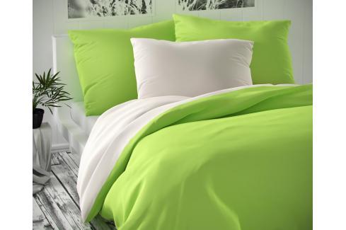 TOP Saténové francouzské povlečení LUXURY COLLECTION 220x200+2x70x90cm bílé / světle zelené Ložní povlečení