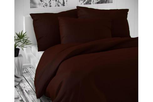 TOP Saténové francouzské povlečení LUXURY COLLECTION 220x200+2x70x90cm tmavě hnědé Ložní povlečení