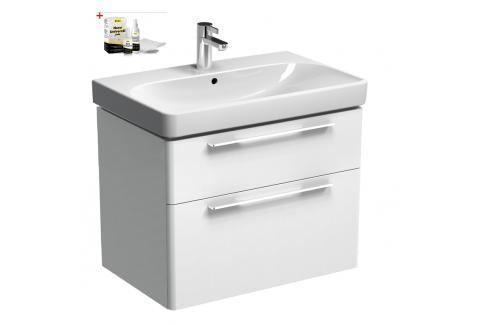 Koupelnová skříňka s umyvadlem Kolo Kolo 75x71 cm bílá lesk SIKONKOT75BL Koupelnový nábytek