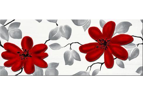 Dekor Fineza Fresh flowers red 20x50 cm lesk DFRESHFRE Obklady a dlažby