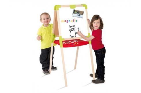 SMOBY - 28015 Dřevěná tabule magnetická oboustranná skládací Hrajeme se na školu