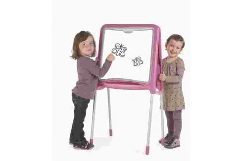 SMOBY - 28109 Kovová tabule magnetická oboustranná skládací růžová Hrajeme se na školu