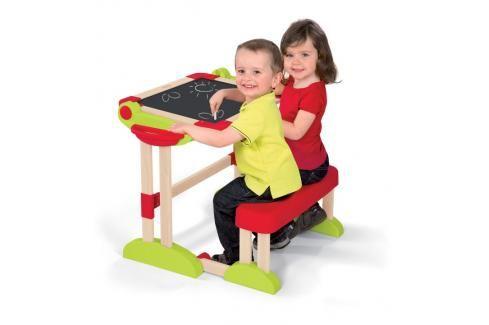 SMOBY - 28112 Dětská dřevěná lavice Activity s objstrannou magnetickou tabulí Hrajeme se na školu