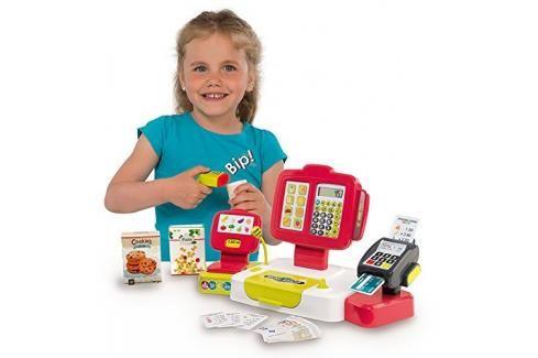 SMOBY - 350107 Elektronická pokladna se čtečkou kódů, karet a s váhou červená Hrajeme se na profese