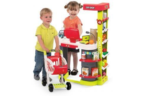 SMOBY - 350211 Obchod City shop s čtečkou karet a vozíkem zeleno-červený Hrajeme se na profese