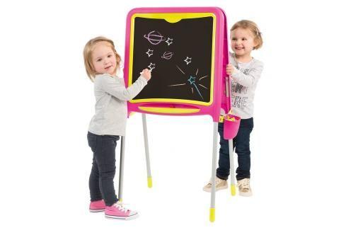 SMOBY - 410303 Magnetická oboustranná tabule Tubes růžová Hrajeme se na školu