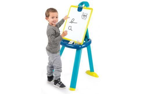 SMOBY - 410607 Oboustranná tabule z plastu modrá 2v1 Hrajeme se na školu