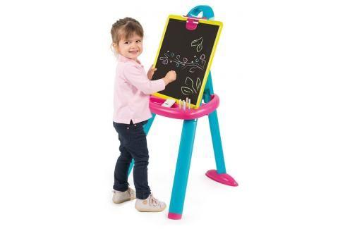 SMOBY - 410608 Oboustranná tabule z plastu růžová 2v1 Hrajeme se na školu