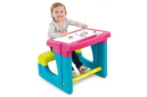 SMOBY - 420102 Školní lavice s tabulí růžová Hrajeme se na školu